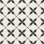 Patchwork Clover Black Pattern 30×30